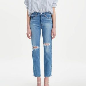 Levi Wedgie Fit Distressed Knee Jeans